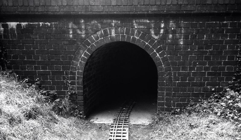 Black & White tunnel Train Tracks not fun