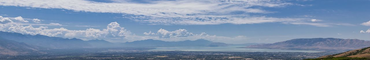 Panoramic Landscape view from Travers Mountain of Provo, Utah County, Utah Lake and Wasatch Front Rocky Mountains, and Cloudscape. Utah, USA. Cloudscape Provo Utah USA Utah Landscape Mountain Protection Rocky Mountains Timpanogos Utah Lake