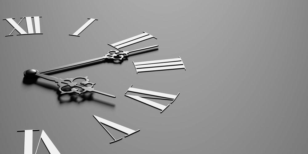 3d rendering of a black clock 3d Rendering Roman Number Blackandwhite Clock Concept Hour Hand Metal Minute Hand No People Studio Shot Time