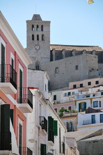 Cathedral Santa Maria de las Nieves Eivissa Dalt Vila City Clock Low Cityscape Blue Clock Tower Clock Face Town Sky Urban Skyline Office Building Catholicism Bell Tower - Tower Cathedral Historic Tower