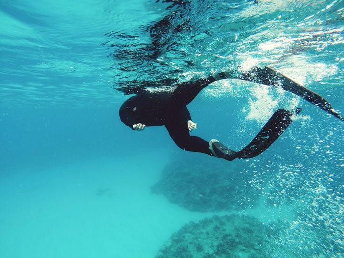 Person Scuba Diving Undersea