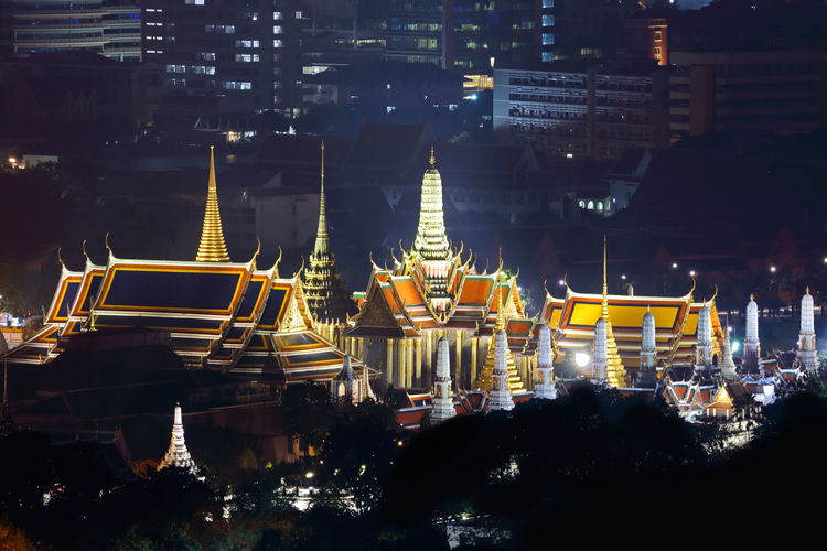 Wat Phra Kaew Temple of the Emerald Buddha Bangkok Thailand Architecture Night Built Structure Building Exterior Illuminated City No People Transportation Building Cityscape Travel Destinations Place Of Worship Mode Of Transportation Nature Travel Belief Nautical Vessel Religion Outdoors Skyscraper Temple Emerald Buddha Temple Bangkok Wat Phra Kaew