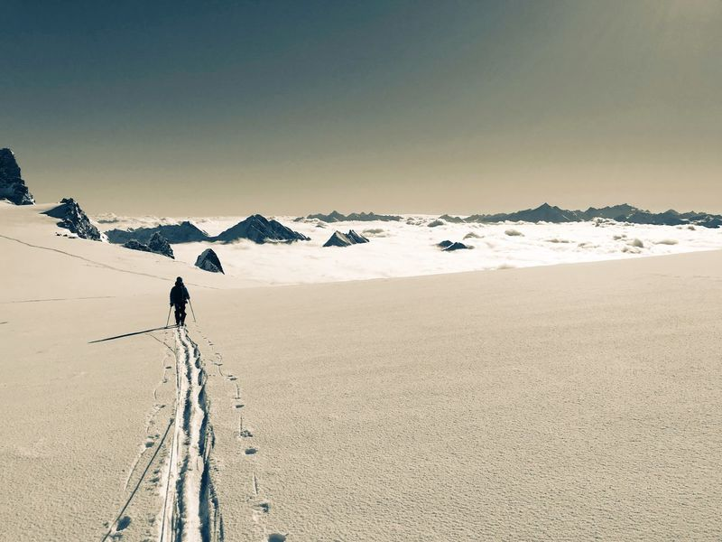 Skiing Above The Clouds Skitouring Glacier Sky Scenics - Nature Beauty In Nature Tranquility Nature Tranquil Scene