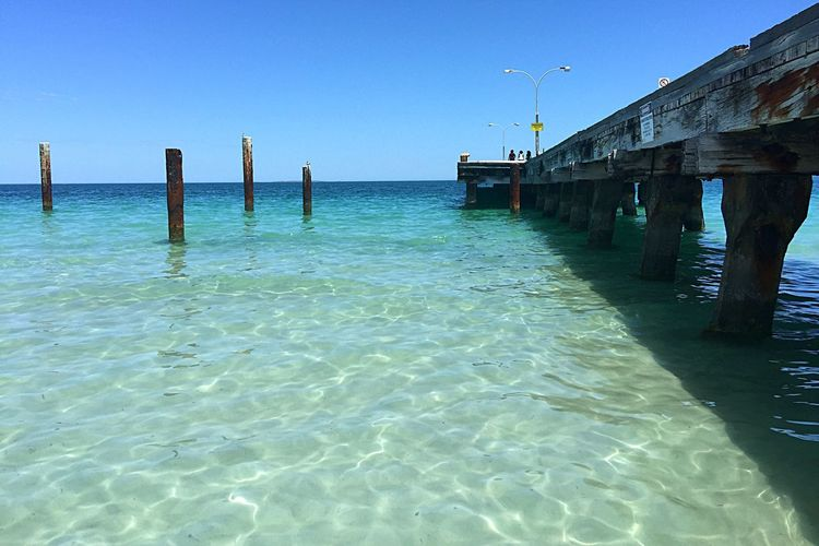 Clear Ocean Waters Australia Beach Walk Seascape Ocean View Water Blue Sea Western Australia Beaches Beach Travel Beach Photography Clear Water Clear Ocean Relaxing Jetty Ocean Pilings Life Is A Beach Seascapes Stress Relief Tranquil Scene Peaceful View Peaceful Coastal