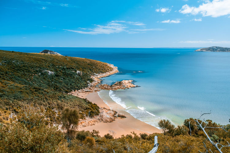 Scenic ocean coastline with beaches and hills of wilsons promontory national park in victoria