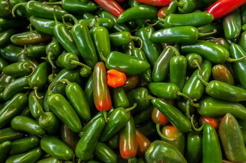 Full frame of jalapeno pepper for sale at market