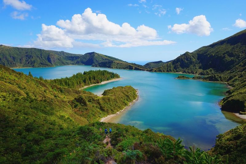 Water Tranquil Scene Scenics Sky Tranquility Cloud - Sky Lake Beauty In Nature Non-urban Scene Idyllic Nature Mountain Green Color Blue Remote River Solitude Day Tourism Countryside EyeEm Best Shots EyeEm Nature Lover Azores Lagoa Do Fogo EyeEm