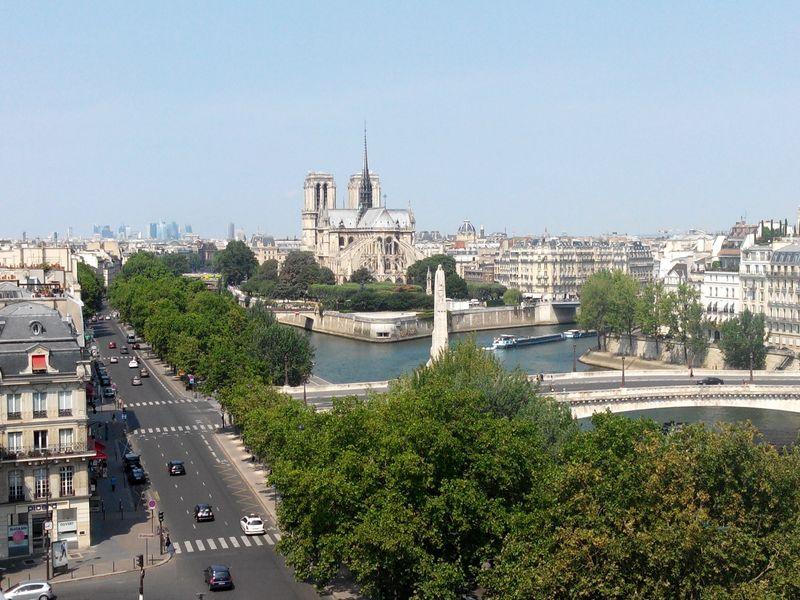 Cityscapes Paris Paris, France  Notre Dame De Paris River Seine Urban Landscape From The Rooftop Perspective Cityscape