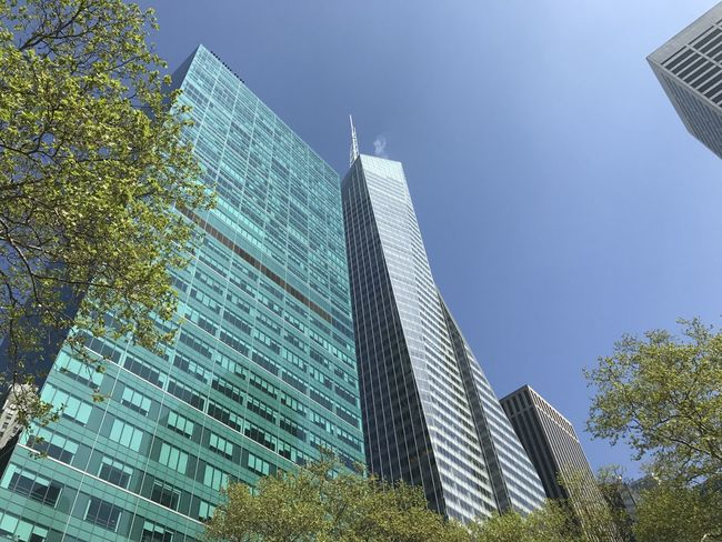 Bryant Park NYC New York New York City Architecture Bryant Building Exterior Built Structure City Clear Sky Day Growth Low Angle View Modern No People Office Park Outdoors Park Sky Skyscraper Tree