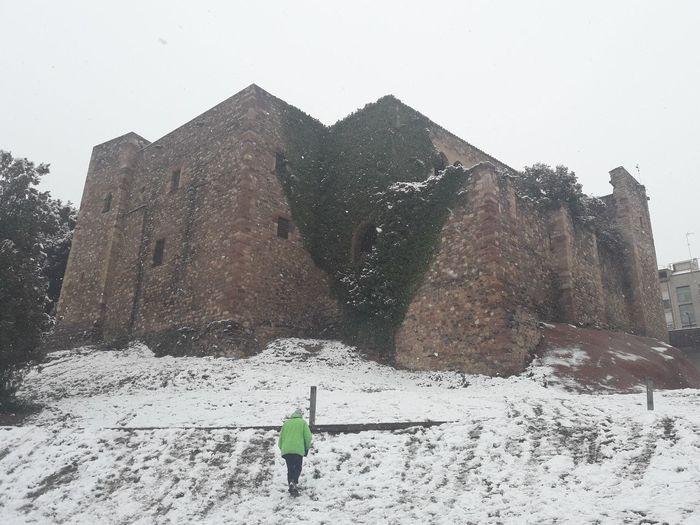 Park Vallparadis. Castle Cartoixa. Terrassa. Catalonia. City Terrassa Catalunya SPAIN Snow Winter Mountain Cold Temperature Full Length Standing Snowing Adventure