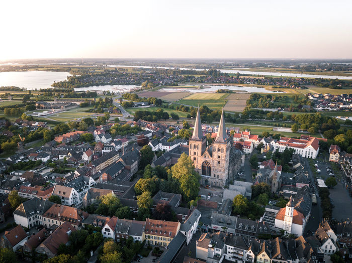 Dj Drone  Aerial View Architecture Building Building Exterior Built Structure City Cityscape Day Environment Germany High Angle View Horizon Landscape Nature No People Outdoors Plant Road Sky Sunset Transportation Tree Xanten