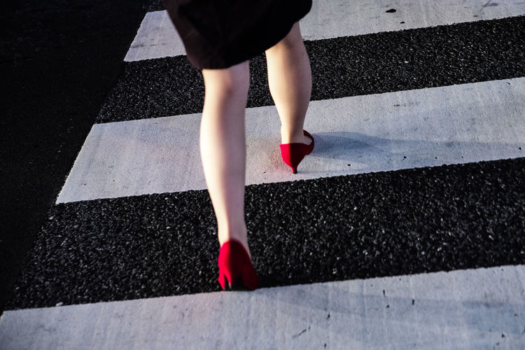 Heels Learn & Shoot: Simplicity Red Shibuya Street Photography Streetcolour Tokyo Zebra Crossing Walking Contrast Stride Confidence  pmg_tok Tokyo Diary