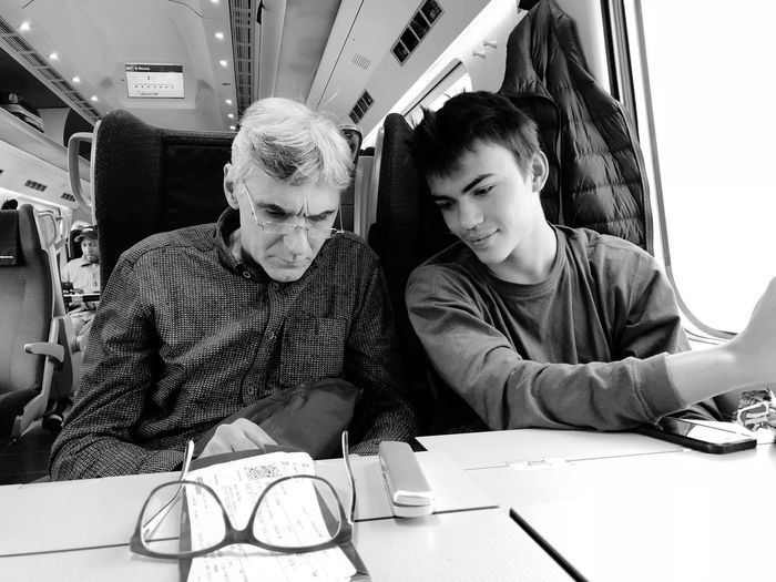 Train Milano Zürich Two People Sitting Real People Togetherness Indoors  Technology Men