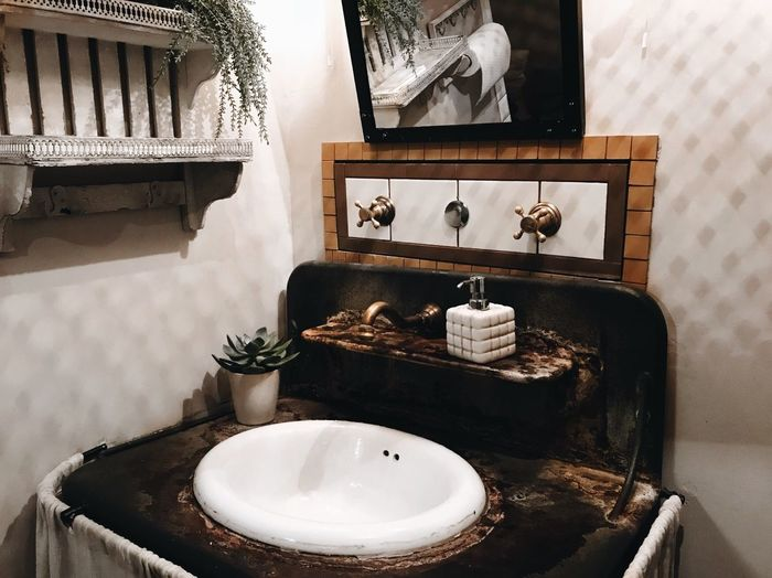 Cozy Cozy At Home Interior Design Interior Design Bathroom Sink Table Indoors  No People Seat Plant Chair Home Interior Household Equipment Mirror Potted Plant Arrangement Decoration Still Life Home