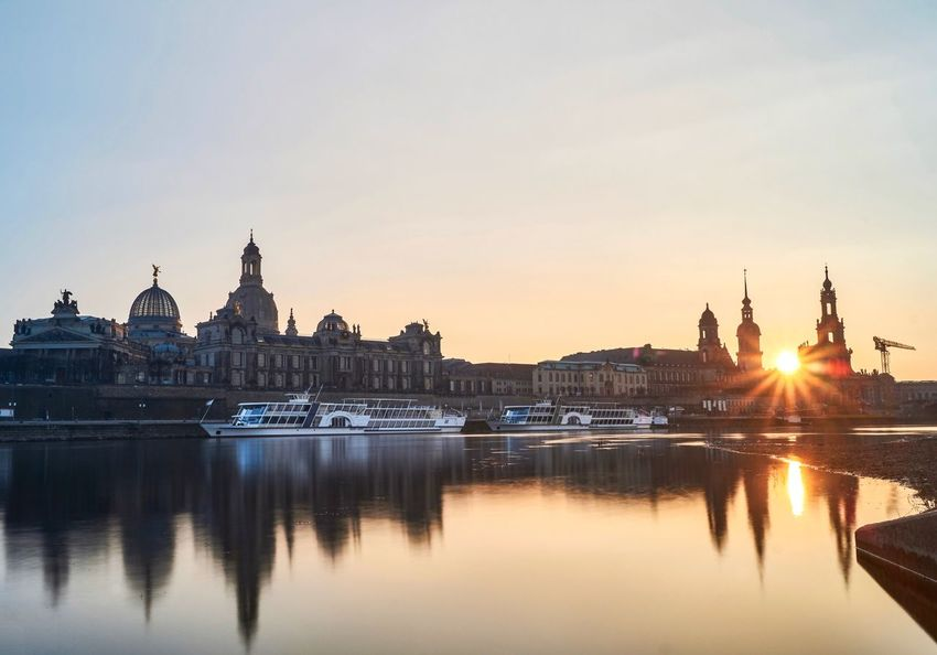 Dresden sunset Wanderlust Architecture Building Exterior Built Structure Reflection Sunset Water Sky City Waterfront No People Outdoors Cityscape Dome Illuminated Nautical Vessel Clear Sky Nature Day
