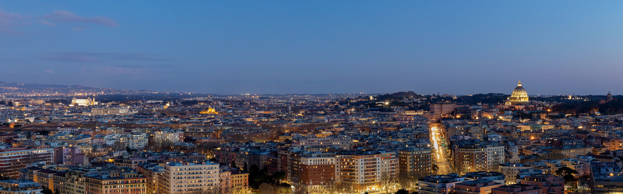 Panoramic view of the city of rome, italy, with the major buildings of the capital.