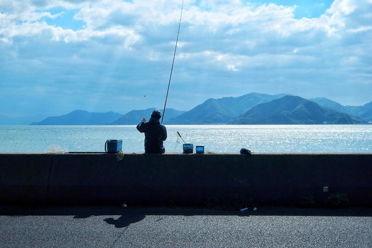 Sea Fishing Sky Fishing Pole Outdoors Day EyeEm Best Shots EyeEm Nature Lover Angler Silhouette From My Point Of View Ocean Eye4photography