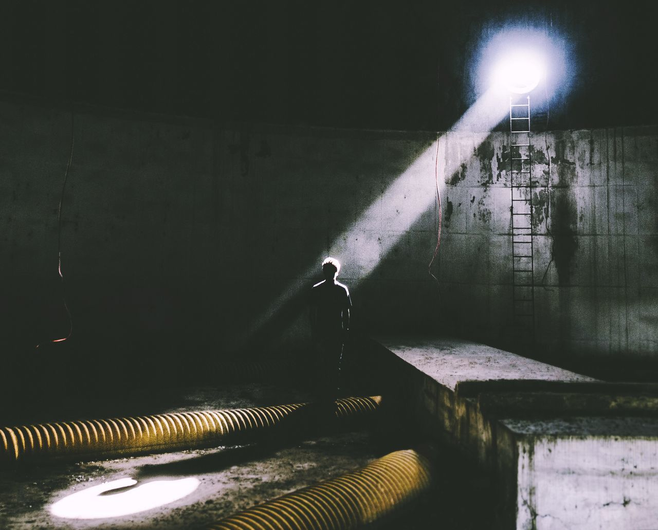 Person Standing In Abandoned Building