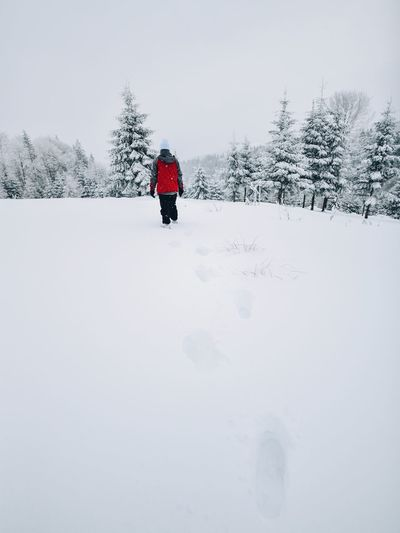 People Watching Winter Adventure Beauty In Nature Cold Temperature Day Frozen Full Length Landscape Nature One Person Outdoors People Real People Scenics Sky Snow Snowing Tranquil Scene Tranquility Tree Warm Clothing Weather White Color Winter