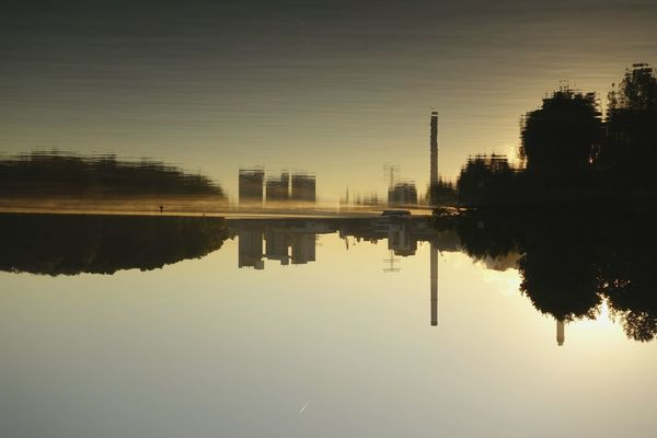 Water Reflection Waterfront Tree Silhouette Mid Distance Calm Lake Clear Sky Tranquil Scene Tranquility Nature Sunday_flip 180° Battle Of The Cities Early Morning Sunrise Smoke On The Water
