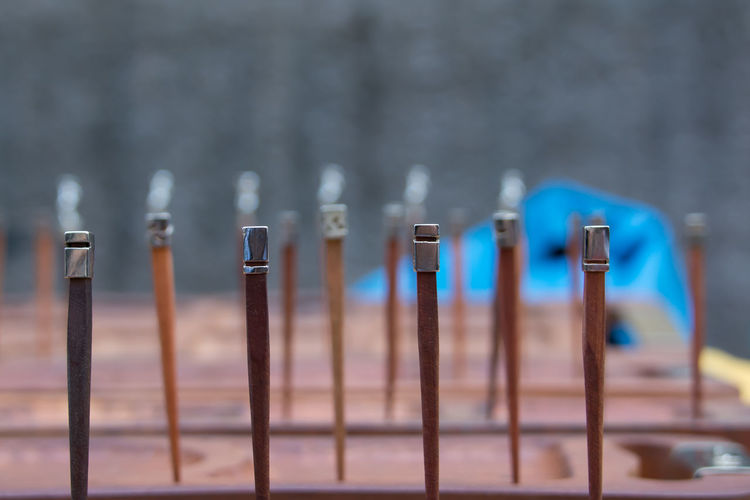 Close-up of hair pin on table