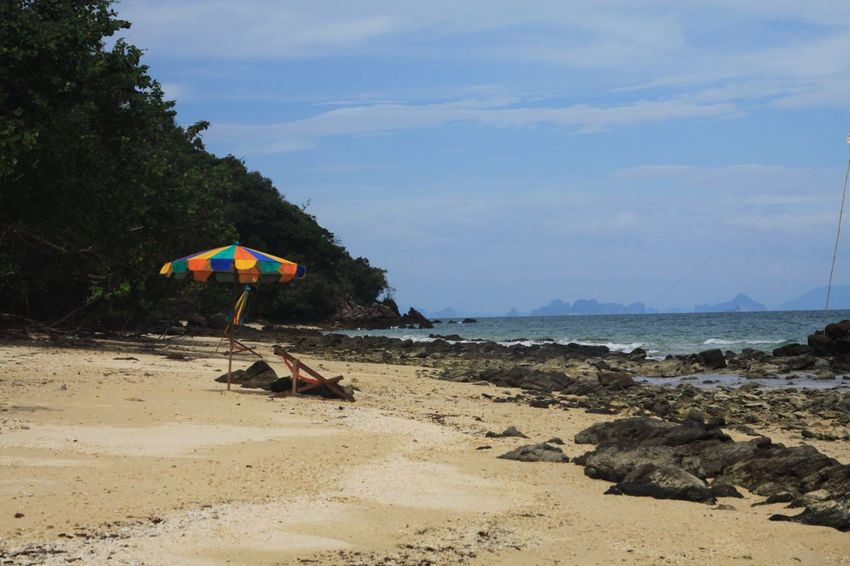 Ko Yao Yai Rock Palm Tree Beach Thailand Ko Yao Noi Ko Yao Yai Beach Land Water Sky Sand Nature Sea Tree Cloud - Sky Tranquility Plant Tranquil Scene Umbrella No People Outdoors Holiday Trip Beauty In Nature