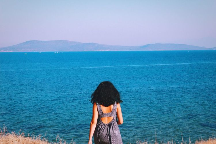 Rear view of woman standing of field by sea against clear sky