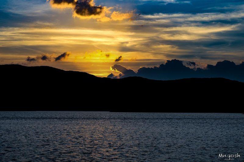 غروب شمس سد العقيق Sunset Sky Water Beauty In Nature Silhouette Scenics - Nature Orange Color