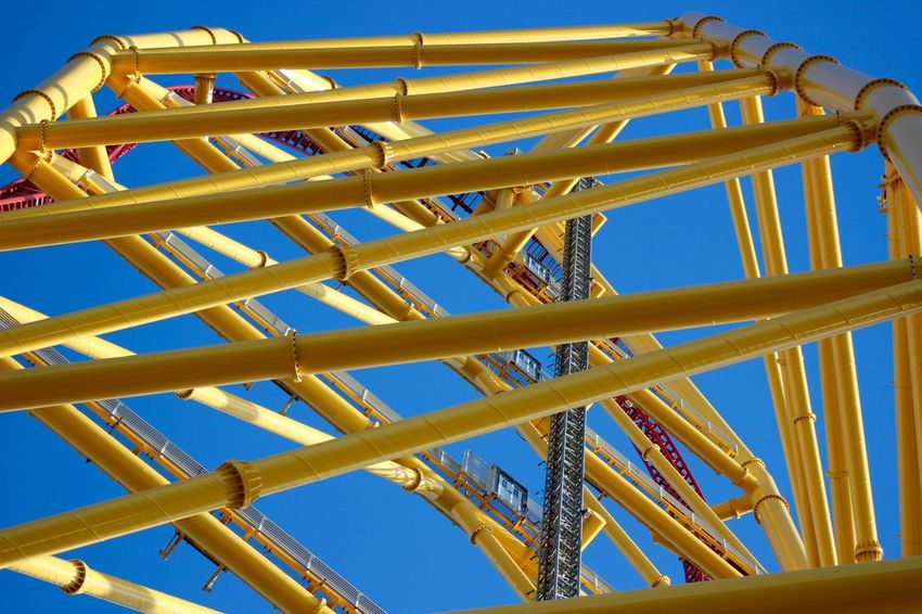 Cedar Point Roller Coaster Capital Of The World Roller Coaster Blue Sky Abstract Yellow