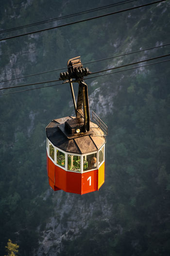 High angle view of overhead cable car over mountains