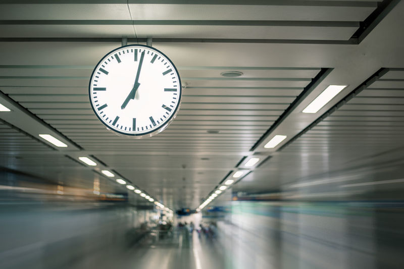 Architecture Indoors  Clock Illuminated Time Ceiling Transportation No People Built Structure Wall - Building Feature Building Low Angle View Public Transportation Corridor Arcade Lighting Equipment Direction Number Transportation Building - Type Of Building The Way Forward Clock Face Station Minute Hand Wall Clock Underground Walkway