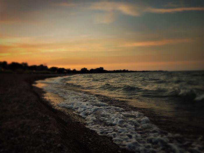 Evening stroll: Part 2 Chicago Sunset Sky Clouds Water Beach