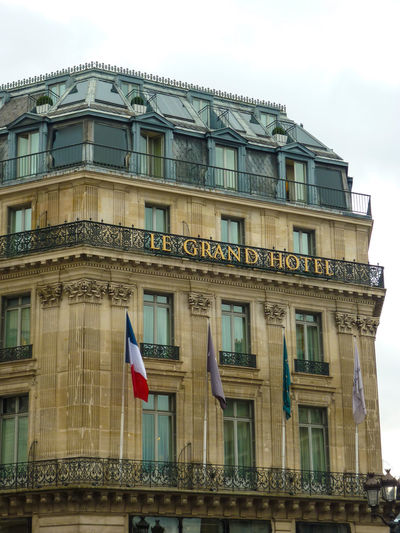Paris Grand Hotel Paris Paris Architecture Building Exterior Built Structure Day Façade Flag Grand Hotel Low Angle View No People Outdoors Sky Window