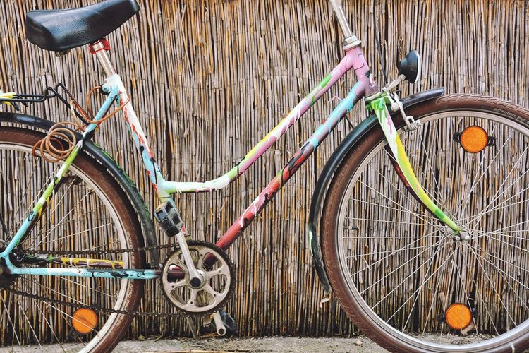 A bike would always remember me about my dad and childhood. Bicycle Frame Bike Decoration Pump Your Ride Street Art Two Wheels Ride Bicycle Bicycle Transportation Mode Of Transport Stationary Land Vehicle Wheel Parking Spoke Tire Bicycle Rack Pedal
