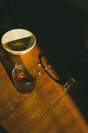 High angle view of wine glass on table