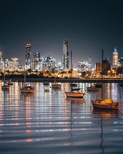 Melbourne Reflection Illuminated Night Architecture Building Exterior City Water Skyscraper Built Structure Urban Skyline Cityscape Travel Destinations No People Waterfront Outdoors Clear Sky Stories From The City The Traveler - 2018 EyeEm Awards