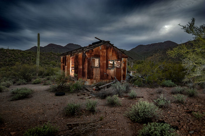 Cloud - Sky Architecture Sky Built Structure Abandoned Building Exterior Mountain Ominous Spooky Run-down Storm Cloud Outdoors Ruined Building Nature No People House Remote Overcast Old Land Landscape Ironwood Forest National Monument Carnegiea Gigantea
