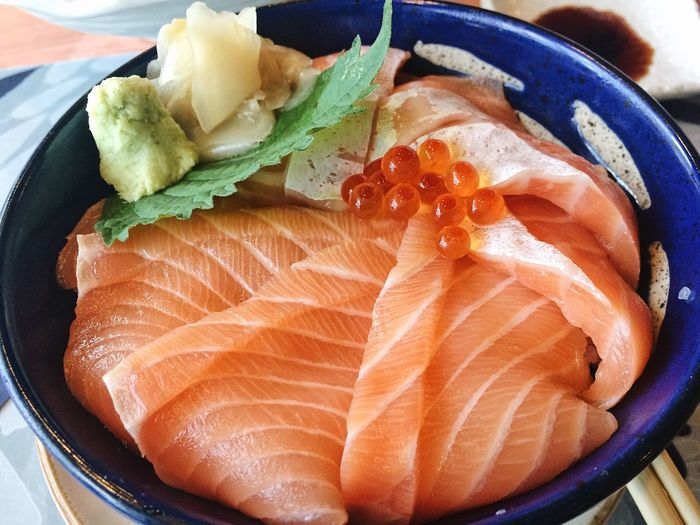 Salmon Don Seafood Food Food And Drink Fish Freshness Healthy Eating Japanese Food Salmon Raw Food Ready-to-eat Sushi Sashimi  Food Stories