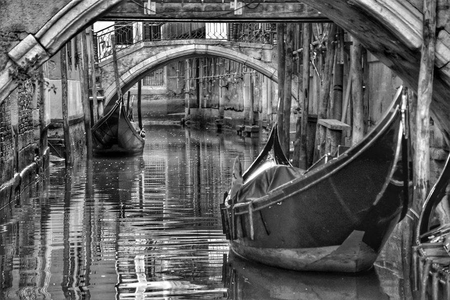 Venice Street adventures in the city Gondola - Traditional Boat Gondola Gondole In Venice Blackandwhite Black And White Black & White Week On Eyeem Nautical Vessel Water Moored Steps And Staircases Grand Canal - Venice Venetian Lagoon Gondolier Venice - Italy