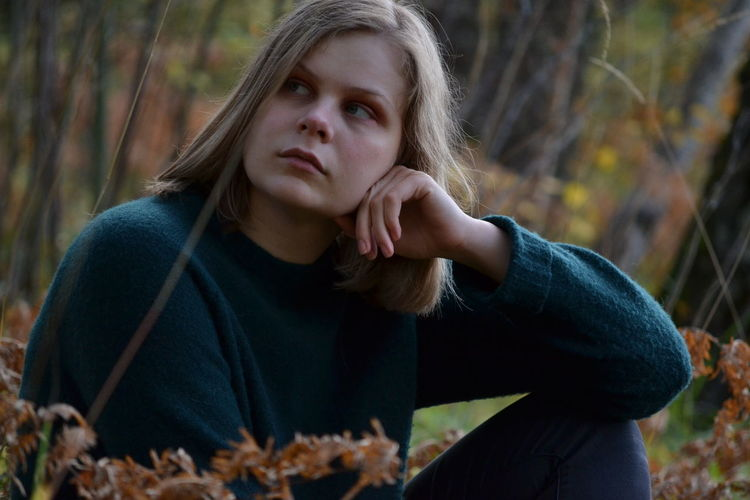 Trees Autumn Beautiful Woman Blond Hair Day Forest Lifestyles Nature One Person Outdoors People Tree Woods Young Adult Young Women Fall Sweden EyeEm Ready