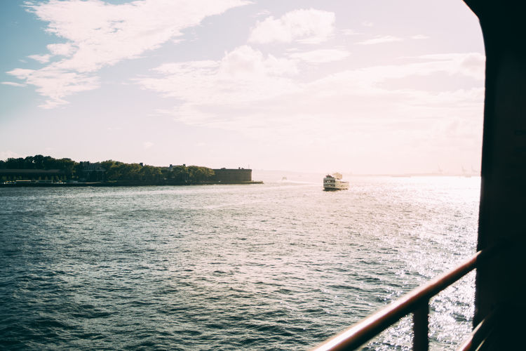 Staten Island Ferry Water Nautical Vessel Waterfront Hudson River Sunlight New York City Transportation
