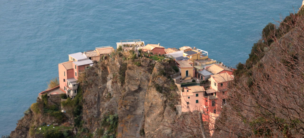 5 Terre Architecture Building Exterior Built Structure Day High Angle View House Manarola Nature No People Outdoors Rocks Sea Village Water