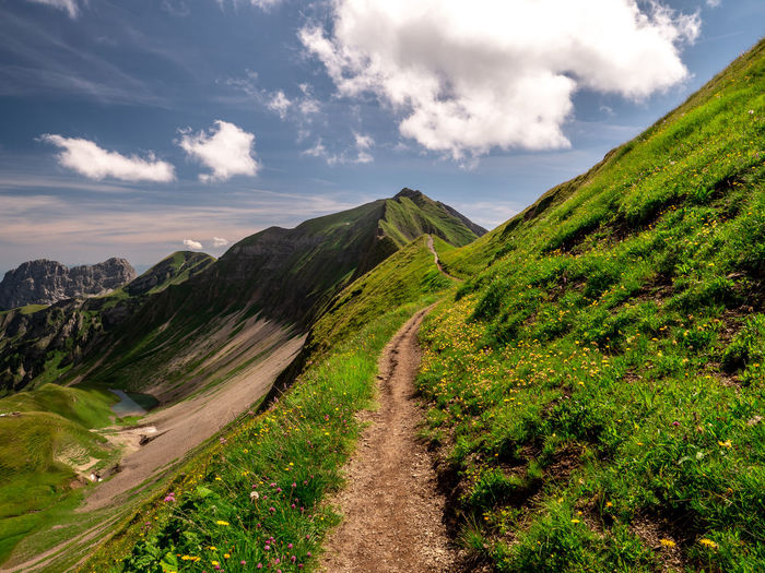 hiking path on mountain peak ridge walk during sunny summer day switzerland Beauty In Nature Cloud - Sky Day Direction Environment Green Color Idyllic Landscape Mountain Nature No People Non-urban Scene Outdoors Plant Road Scenics - Nature Sky The Way Forward Trail Tranquil Scene Tranquility Transportation