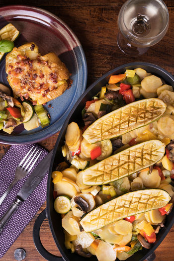 Vegetables Pan with Potatoheart with cheese Food And Drink Fork Knife Leek Vegetarian Food Close Up Food Food Still Life Foodphotography Fresh Glass Wine Grilled Zucchini Healty Indoors  Mushroom No People Onion Paprika Potatoe Heart Potatoes Ready-to-eat Table Vegetables Wood - Material