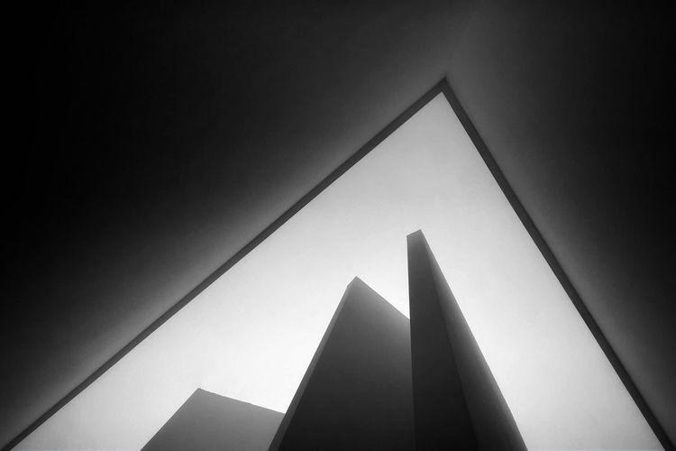 🔺 Triangle Shape No People Built Structure Blackandwhitephoto Milano Black & White Photography Milan Italy Luciofontana Hangarbicocca