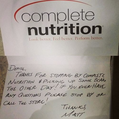 I always appreciate good customer service!! ✔? CompleteNutrition Supplements Fitness Sportsnutrition fitnesssupplements