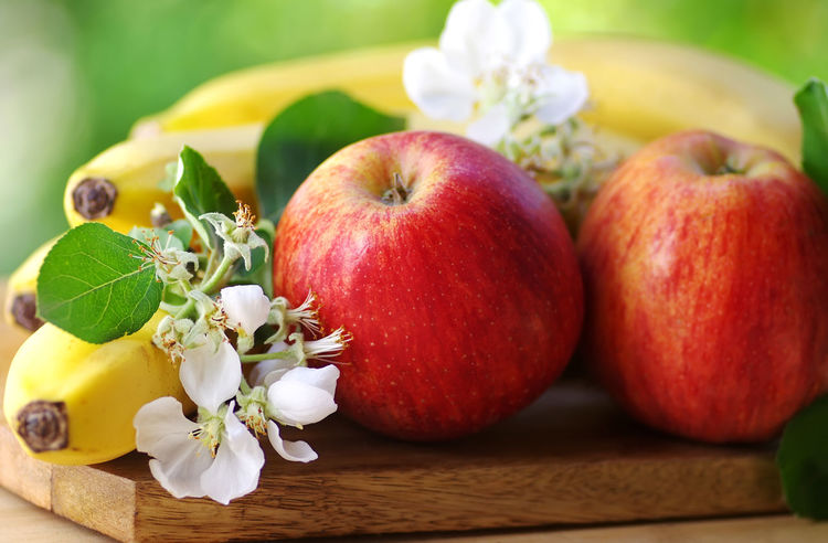 red apples and bananas Apple Apple - Fruit Close-up Flower Flower Head Flowering Plant Food Food And Drink Freshness Fruit Healthy Eating Leaf Nature Red Ripe Table