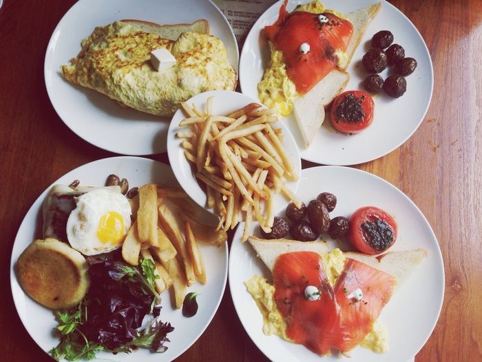 Five Plates With Food