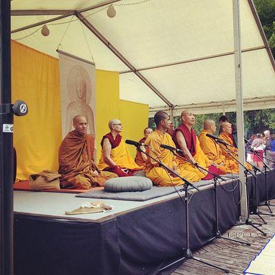 Buddhistische Mönche feiern den höchsten buddhistischen Feiertag Vesakh Munich München Buddhism Monk