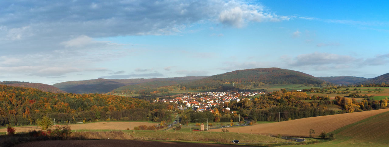 Abendsonne Bayern Germany Cloud - Sky Dorf Eschau Heimat Herbst Kleinstadt Landscape Nature No People Outdoors Panorama Road Winding Road